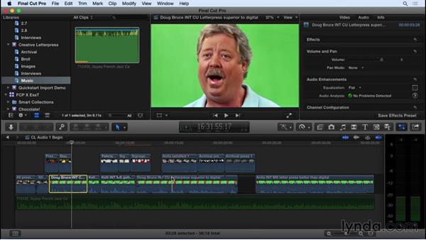 Adding music and adjusting audio: Final Cut Pro X 10.2 Essential Training
