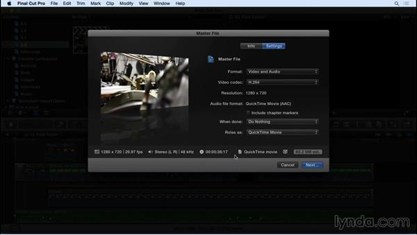 Outputting your show: Final Cut Pro X 10.2 Essential Training