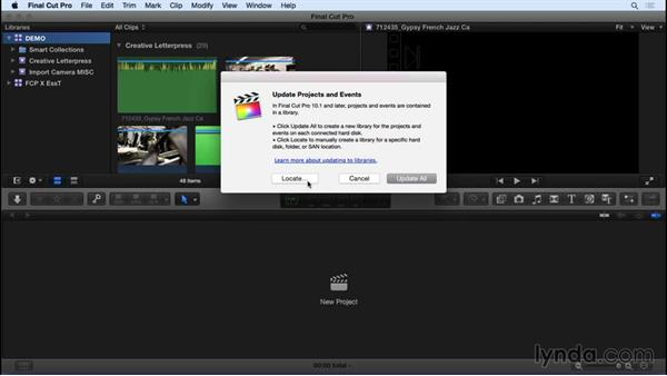 Updating projects and events from pre-v10.1 FCP X: Final Cut Pro X 10.2 Essential Training