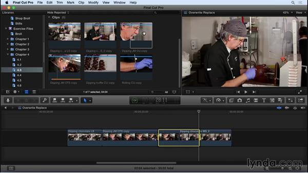 Changing shots: Using Overwrite and Replace edits: Final Cut Pro X 10.2 Essential Training
