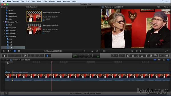 Removing material to build the story: Final Cut Pro X 10.2 Essential Training