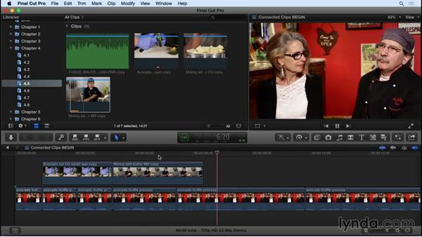 Connecting clips to the primary storyline: Final Cut Pro X 10.2 Essential Training