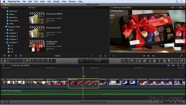 Moving clips: Swapping, splitting, and nudging shots: Final Cut Pro X 10.2 Essential Training