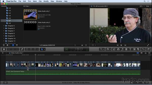 Performing video-only and audio-only edits: Final Cut Pro X 10.2 Essential Training