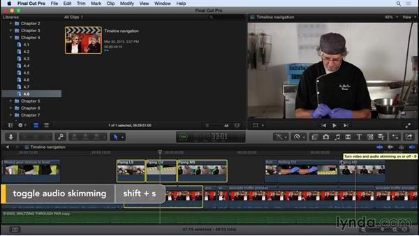Going deeper into timeline navigation: Final Cut Pro X 10.2 Essential Training