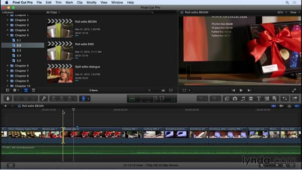Manipulating transitions and creating split edits: Using the Roll tool: Final Cut Pro X 10.2 Essential Training