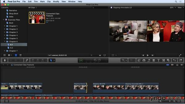 Understanding the features and limitations of connected clips: Final Cut Pro X 10.2 Essential Training