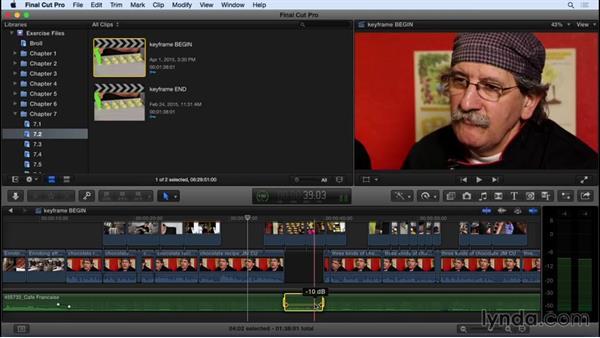 Keyframing audio: Final Cut Pro X 10.2 Essential Training