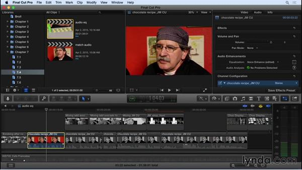Adjusting audio EQ: Final Cut Pro X 10.2 Essential Training