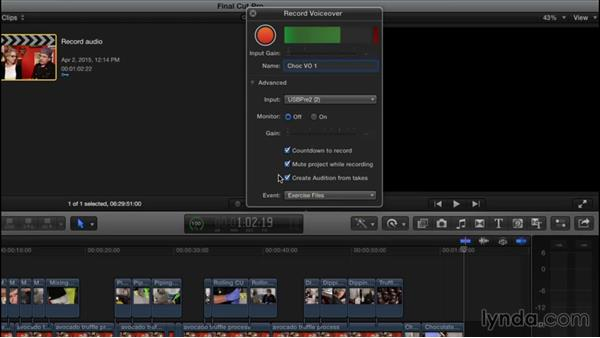 Recording audio: Final Cut Pro X 10.2 Essential Training