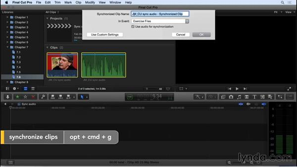 Syncing your video to high quality audio: Final Cut Pro X 10.2 Essential Training