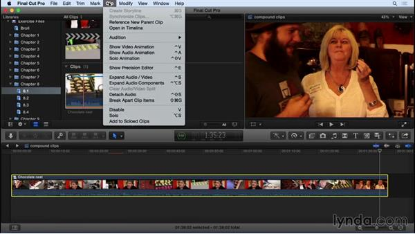 Nesting and breaking apart clips: Final Cut Pro X 10.2 Essential Training