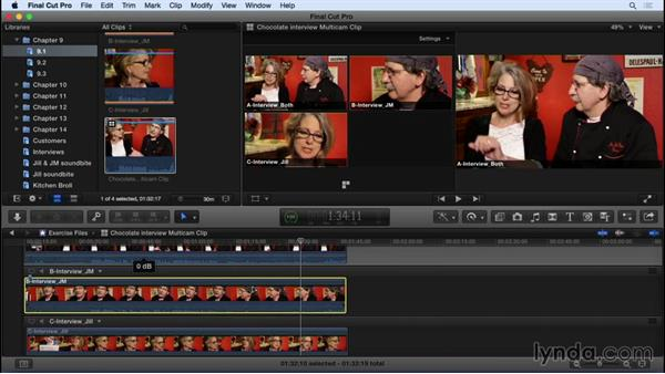 Syncing your multicam group clips: Final Cut Pro X 10.2 Essential Training