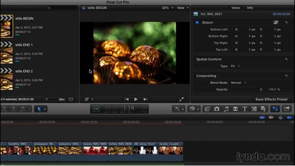 Working with still photos and graphics: Final Cut Pro X 10.2 Essential Training