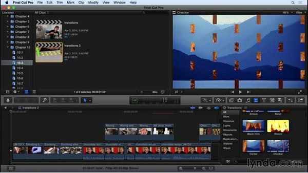 Adding and adjusting transition effects: Final Cut Pro X 10.2 Essential Training