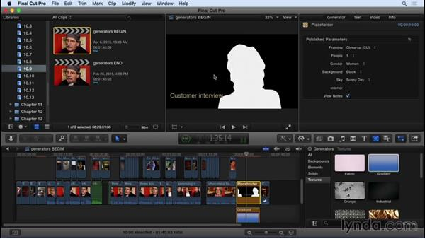 Working with generator effects: Final Cut Pro X 10.2 Essential Training