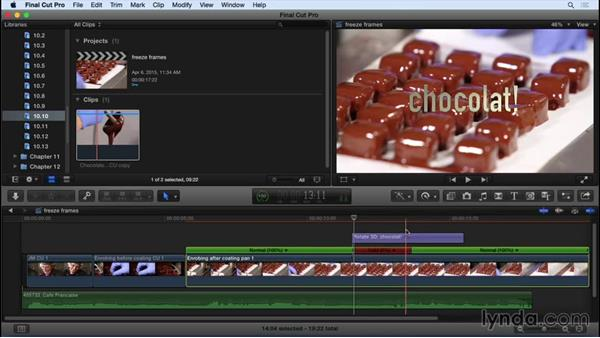 Creating freeze frames: Final Cut Pro X 10.2 Essential Training