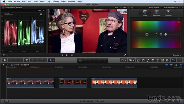 Following a proper color correction workflow: Final Cut Pro X 10.2 Essential Training