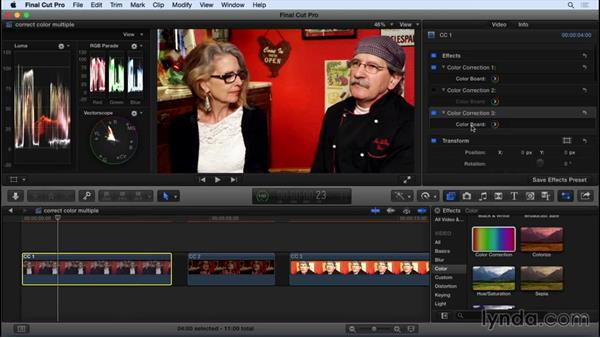 Applying multiple color corrections to clips: Final Cut Pro X 10.2 Essential Training