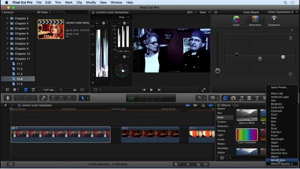 Using color correction templates: Final Cut Pro X 10.2 Essential Training