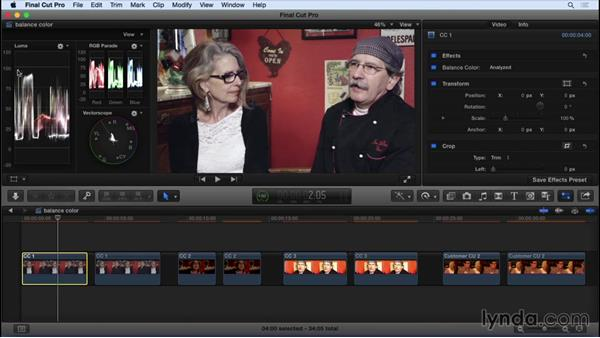 Using automatic color correction tools: Final Cut Pro X 10.2 Essential Training