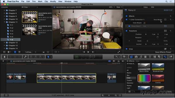 Working with color masks and shape masks: Final Cut Pro X 10.2 Essential Training
