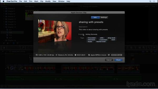 Exporting projects for the web, Apple devices, and DVD: Final Cut Pro X 10.2 Essential Training
