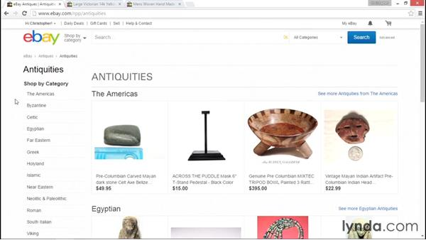 Browsing categories: eBay for Sellers Essential Training