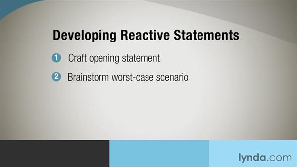 Developing reactive statements: Crisis Communication