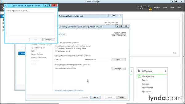 Configuring a server to add to a domain: Installing, Configuring, and Administering Active Directory