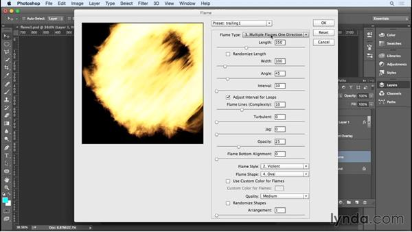 Creating a flaming meteorite with the Flame, Path Blur, and Lens Flare filters: Photoshop for Designers: Filters