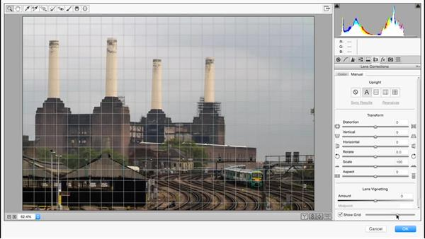 Correcting perspective using the Camera Raw filter: Photoshop for Designers: Filters