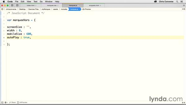 Creating a JavaScript object for the variables: Creating a Responsive Homepage Marquee