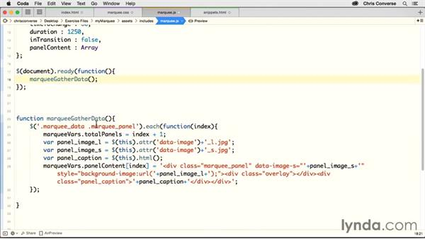 Running a function with the jQuery document ready function: Creating a Responsive Homepage Marquee
