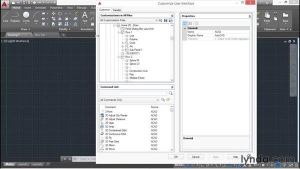 Customizing the user interface: AutoCAD 2016 Essential Training