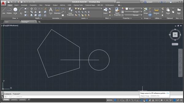 Finding the Geometric center: AutoCAD 2016 Essential Training