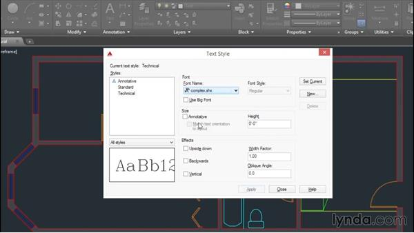 Creating text styles: AutoCAD 2016 Essential Training
