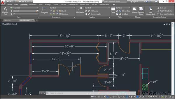 Editing existing dimensions: AutoCAD 2016 Essential Training