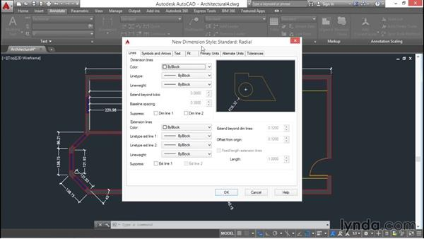 Creating dimension substyles: AutoCAD 2016 Essential Training