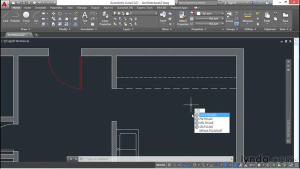 Changing linetype scale: AutoCAD 2016 Essential Training