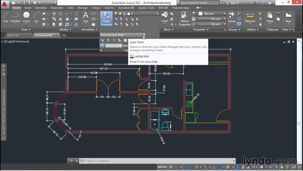 Saving and restoring layer states: AutoCAD 2016 Essential Training