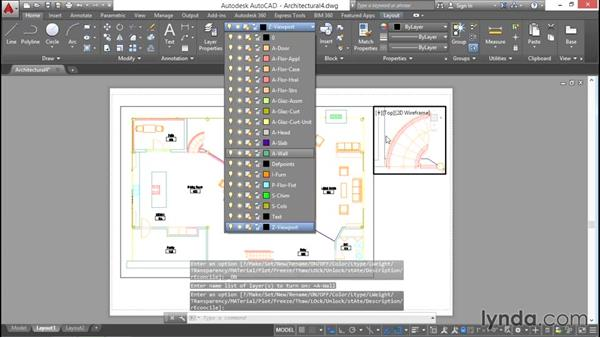 Freezing viewport layers: AutoCAD 2016 Essential Training