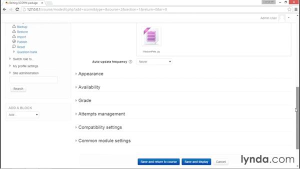 Uploading to Moodle: Captivate Projects: Quizzes