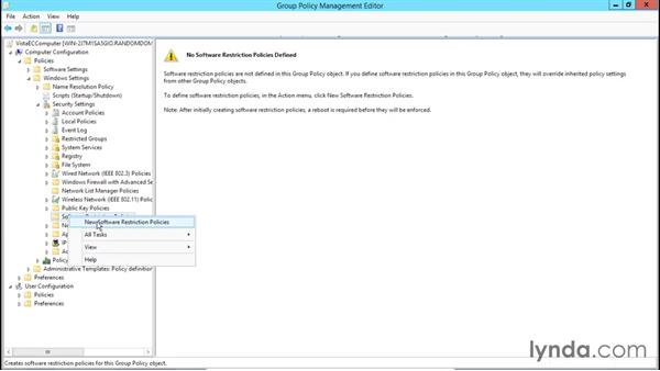 Configuring software restriction rules: Creating and Managing Group Policy for Windows Server 2012