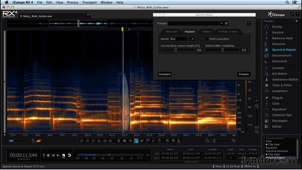 Spectral repairing guitar and roundtripping to Logic Pro X: Repairing and Enhancing Audio with iZotope RX 4