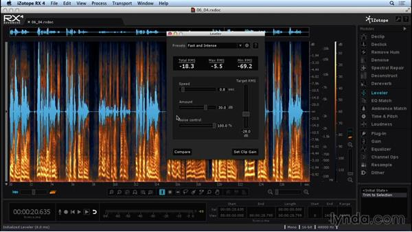 Optimizing audio with the Leveler module: Repairing and Enhancing Audio with iZotope RX 4