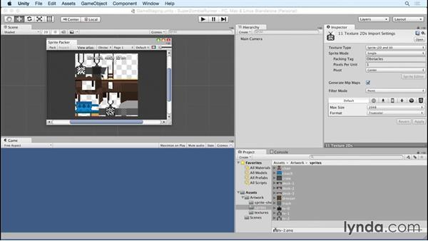 Optimizing loose sprites with Unity's TexturePacker: Unity 5 2D Essential Training (2015)