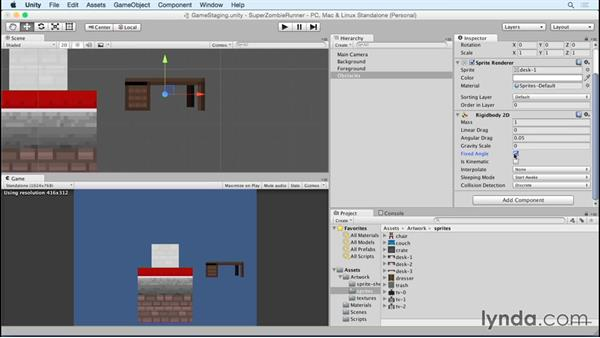 Building a reusable obstacle GameObject: Unity 5 2D Essential Training (2015)