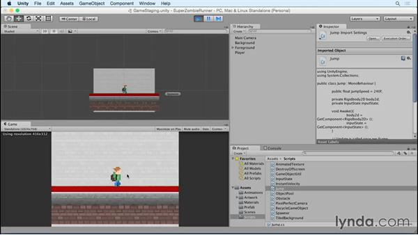 Making the player jump: Unity 5 2D Essential Training (2015)