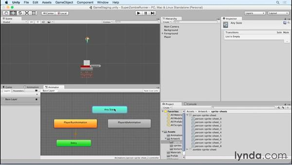 Adding in a player idle animation: Unity 5 2D Essential Training (2015)